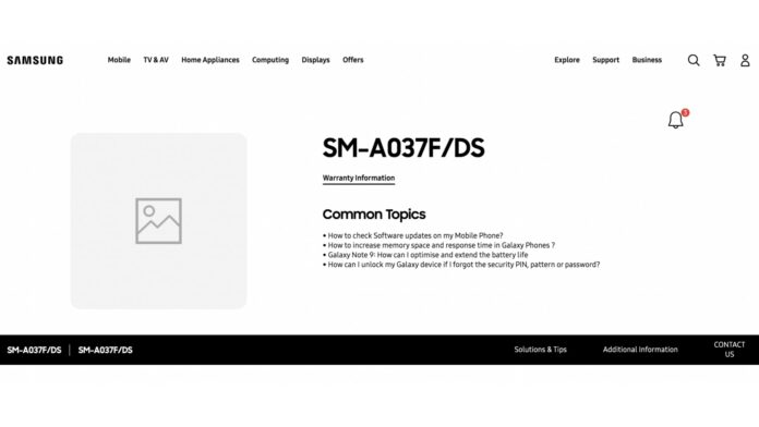 Samsung Galaxy A03 support page